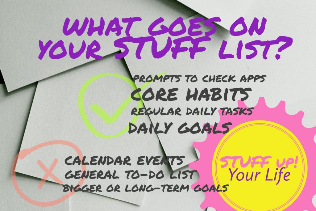 What goes on your stuff list? YES - Prompts to check apps YES - Core habits YES -Regular Daily Tasks YES - Daily Goals  NO - Calendar Events, No General ToDo, No bigger or long term goals